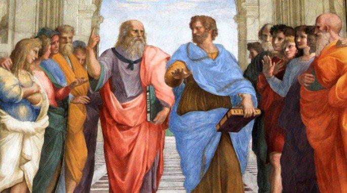 A Escola de Atenas, de Rafael - detalhe: Aristóteles e Platao.