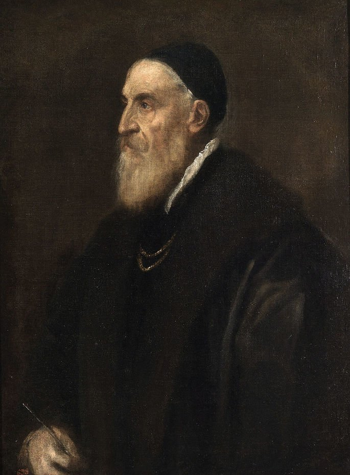 Pintura retratando o artista renascentista Ticiano