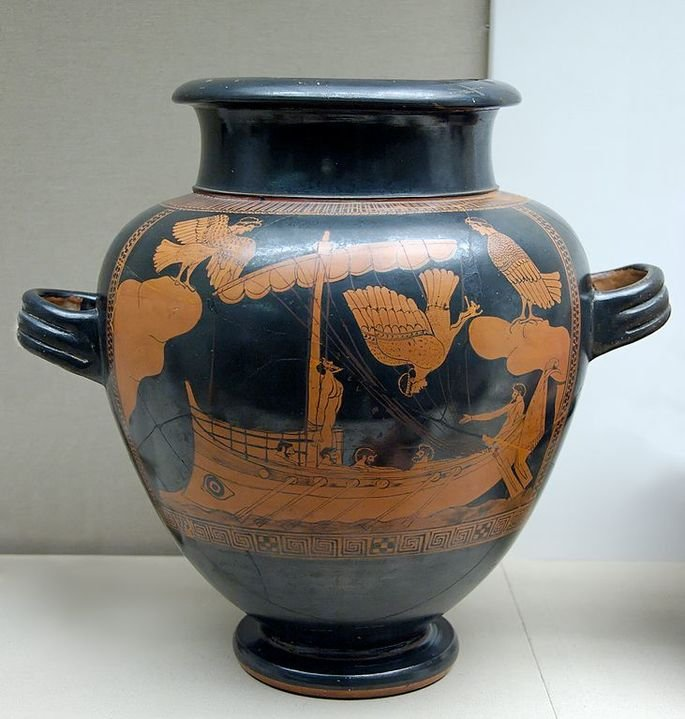 Ilustração de Ulisses e as sereias em um vaso da Grécia Antiga.