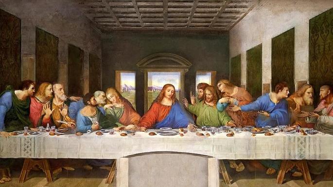 A última ceia, de Leonardo da Vinci exibe uma refeição entre Jesus e seus apóstolos