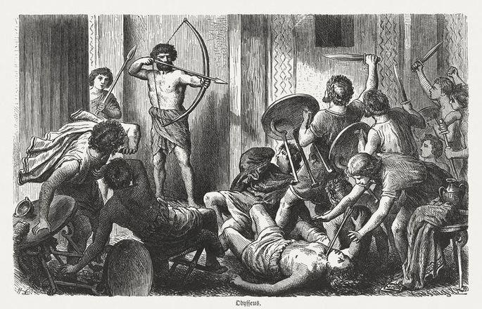 Gravura Ulisses mata pretendentes, 1880.