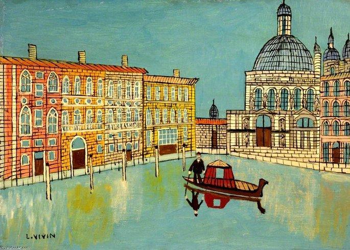 Veneza: vista para o canal com a igreja, de Louis Vivin