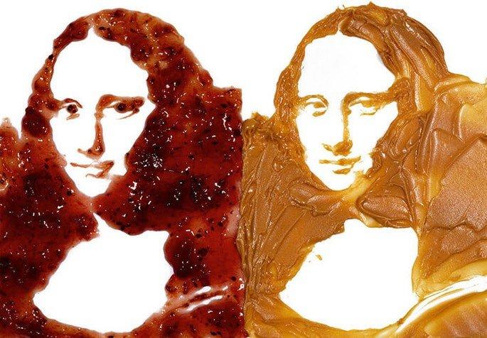 Vik Muniz Double Mona Lisa (Peanut butter and jelly)