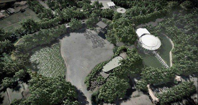Vista aérea do Parque das Pedreiras.