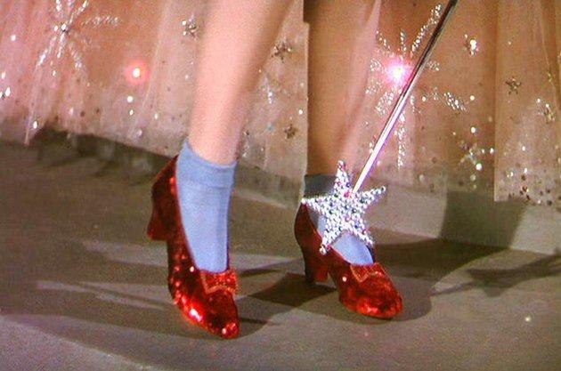 Sapatos de Dorothy em Wizard of Oz.