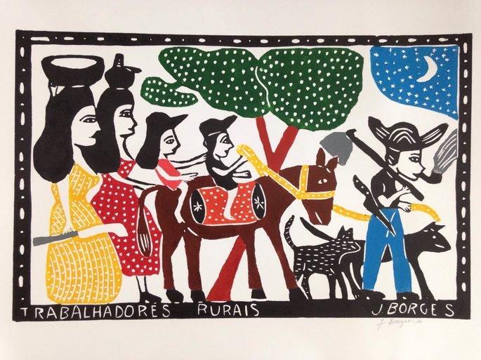 xilogravura de J. Borges de trabalhadores rurais